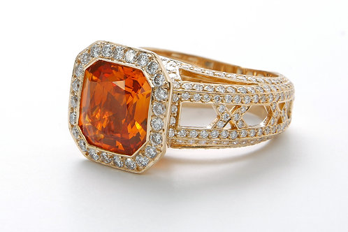 Natural orange Ceylon sapphire ring