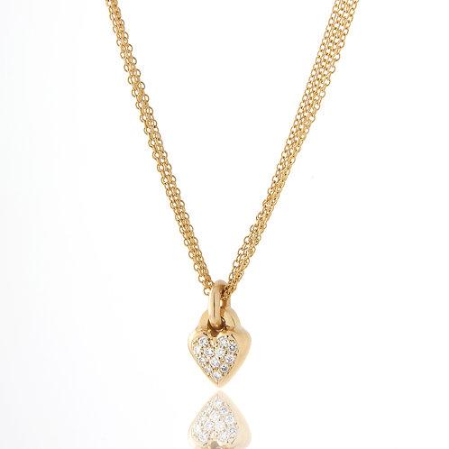Pave Diamond Heart Pendant/Necklace Quadruple Chain, 18K Yellow Gold