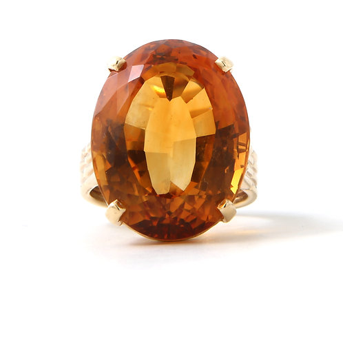 Golden Orange Oval Citrine Ring 14K Yellow Gold