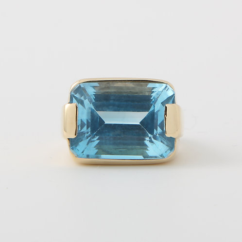 Emerald Cut Swiss Blue Topaz Ring 14K Yellow Gold