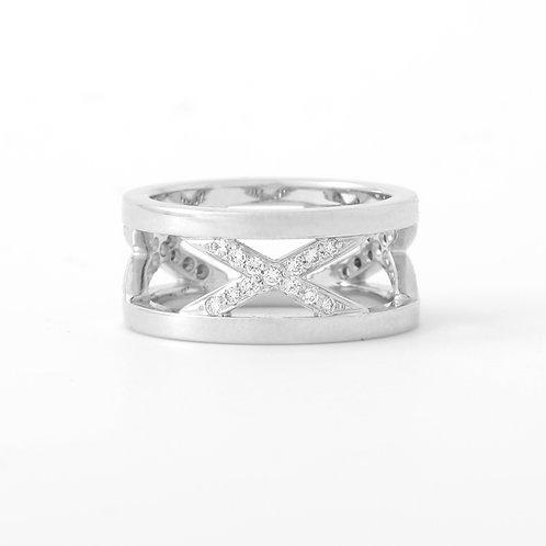 Contemporary  10mm Wide Band, Diamond X Design, 18K White Gold