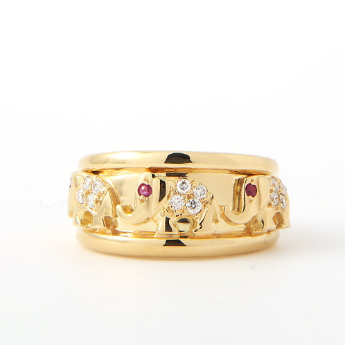 Elephant Band 18K Yellow Gold Diamonds & Rubies