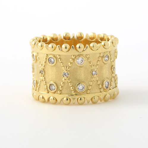 Corset Design Wide 18K Gold & Diamond Band, Matte Finish