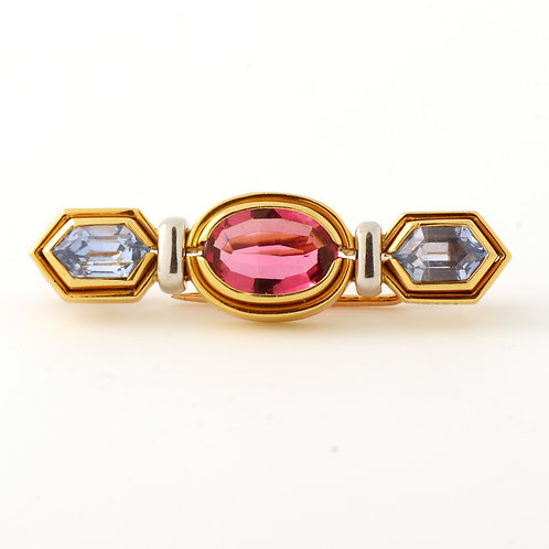 Bulgari Bar Brooch 18K Yellow Gold Tourmaline Sapphire