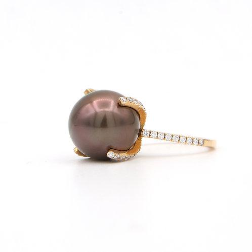 18K Rose Gold & Diamond Chocolate Pearl Ring