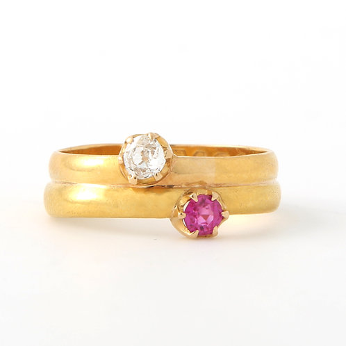 Vintage Yellow Gold Bypass Ring Old Mine Diamond Ruby
