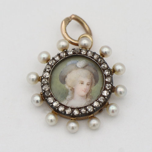 Jacques & Marcus Antique, Victorian Miniature, Hand Painted Pearl & Rose Cut Dia