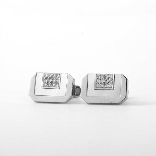 Men's Cufflinks Contemporary Rectangular, 18K White Gold, MOP + Diamonds