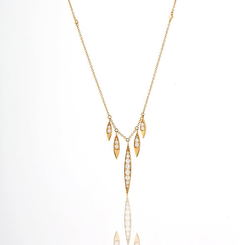 Delicate 18K Yellow Gold Necklace Hanging Marquise Shape Diamond Sections