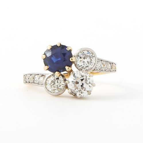 Antique No-Heat Sapphire & Diamond Crossover Ring Late 19th- Early 20th Century