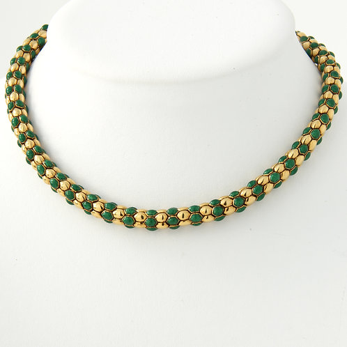 Italian Made 18K Gold and Green Enamel Necklace 93.7grams