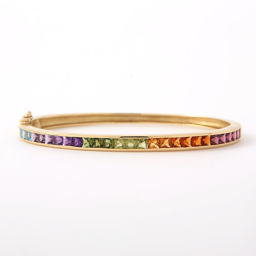 Multi Gemstone Channel Set Bangle, 18K Yellow Gold