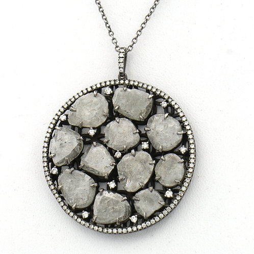 Slice Diamonds Pave Frame Pendant Necklace 5.43 CTTW Oxidized Sterling Silver
