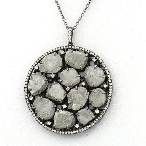 Slice Diamonds Pave Frame Pendant Necklace 5.43 CTTW Oxidized Sterling Silver