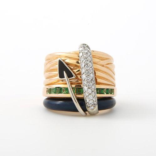 La Nouvelle Bague Wide Band, Enamel, Diamonds & Emeralds