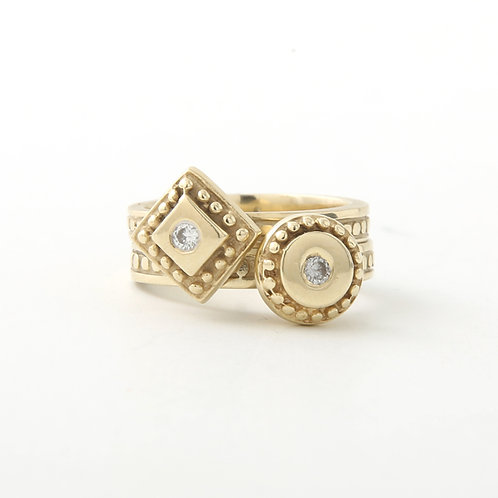 Geometric Etruscan Design Stacking Rings Set of Two 14K Yellow Gold