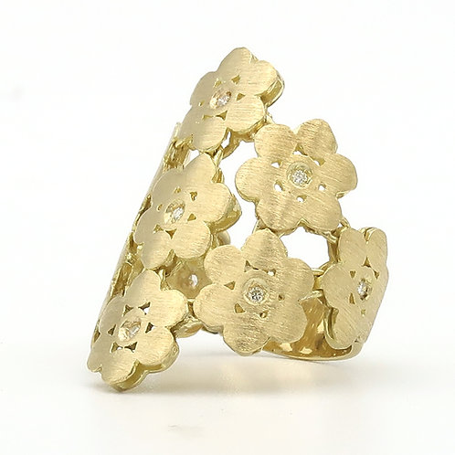 Multi Linked Flower Ring, 18K Yellow Gold & Diamonds