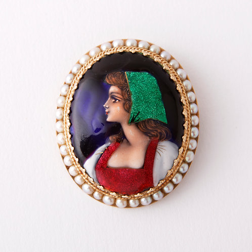 Vintage French hand painted maiden brooch