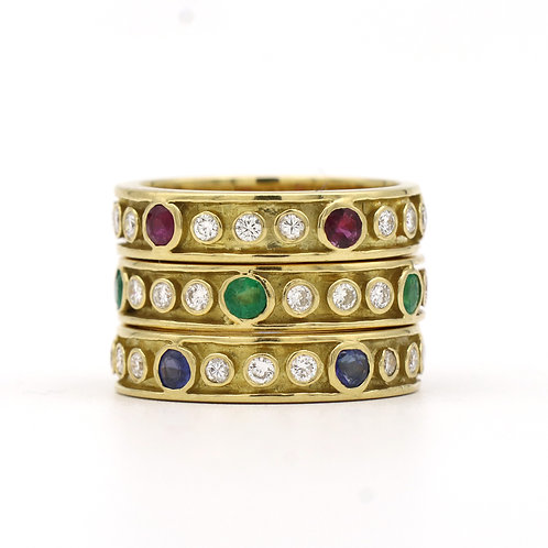 Set of Three, Stackable Gemstone/Diamond, Etruscan Inspired Bands Circa 1980's