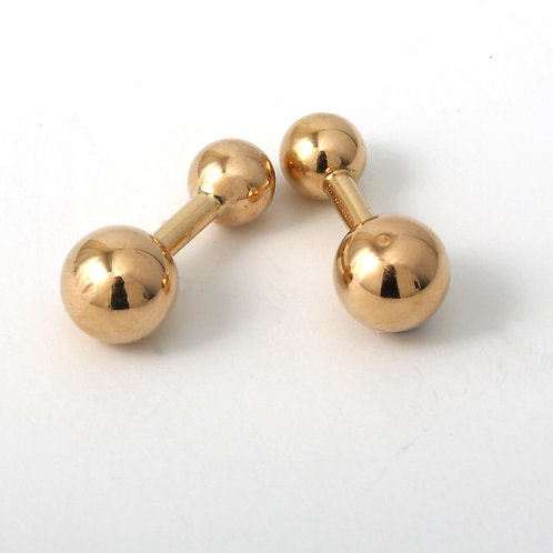 Tiffany & Co. Barbell  Cufflinks 14K Yellow Gold