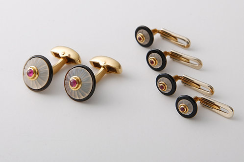 Dress set cufflinks,frosted crystal onyx and ruby
