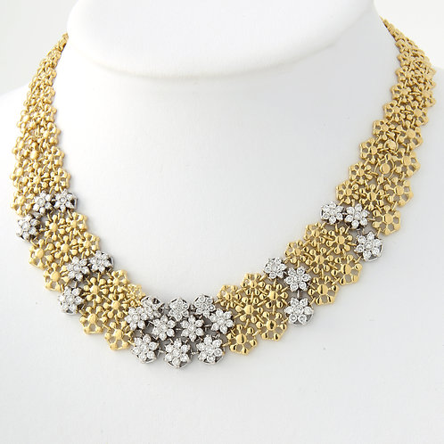 Flower Link Wide Mesh, Diamond Necklace 18K Yellow Gold ITALY