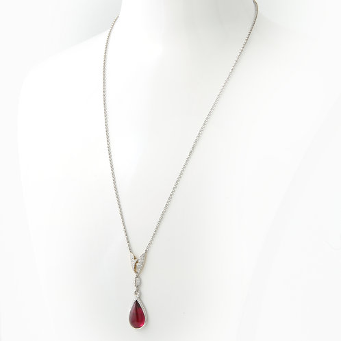 Michael Bondanza  Rubellite Drop & Diamond Necklace/Pendant PLAT/ 18K