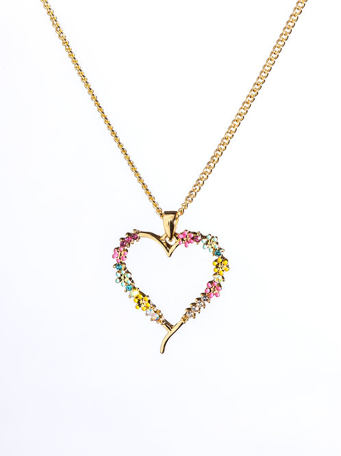 Gold Plated Flowers Heart Pendant