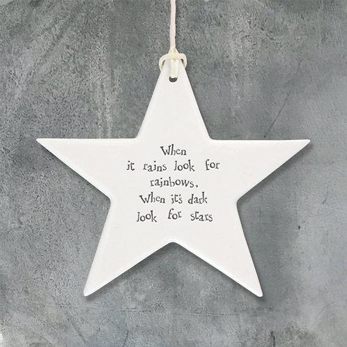 'When it Rains' Porcelain Hanging Star