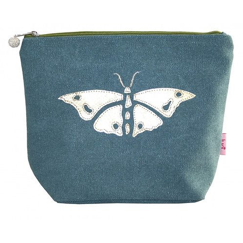 Gold Butterfly Large Cosmetic Purse - Teal
