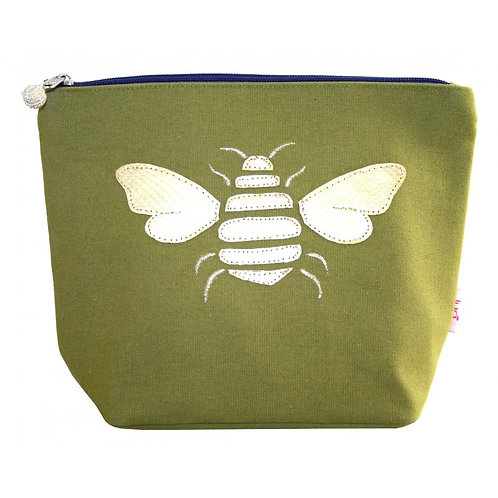 Gold Bee Large Cosmetic Purse - Olive