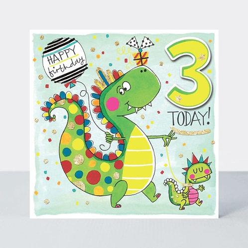 Age 3 Dinosaur Birthday Card