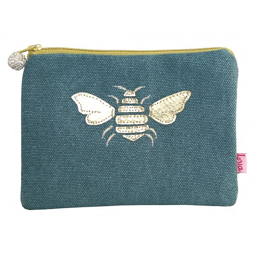 Gold Bee Coin Purse - Teal