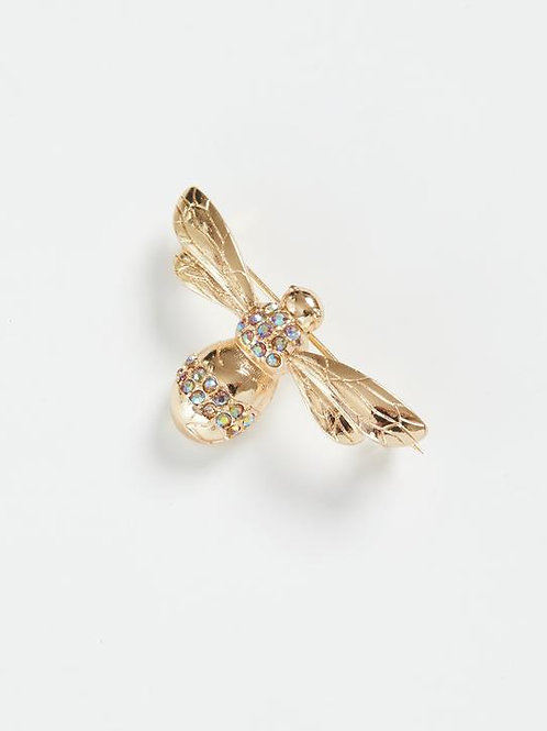 Gold Pave Bee Brooch by Fable
