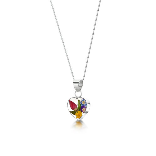 Mixed Flowers Small Heart Pendant by Shrieking Violet