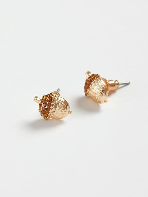 Gold Pave Acorn Stud Earrings by Fable