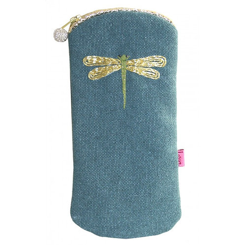 Embroidered Dragonfly Glasses Purse - Teal