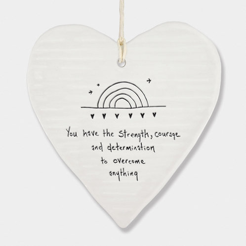 'Overcome Anything' Porcelain Hanging Heart