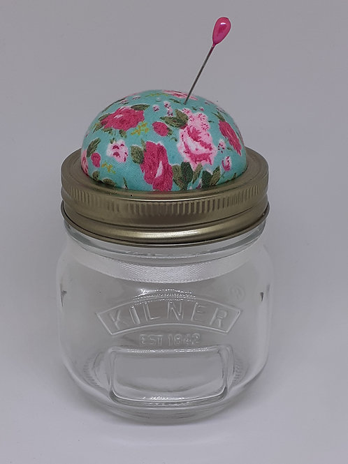 Glass Jar Pin Cushion Turquoise