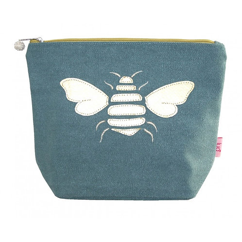 Gold Bee Large Cosmetic Purse - Teal