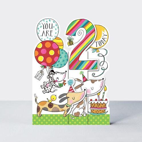 Age 2 Three-Fold Dogs Birthday Card