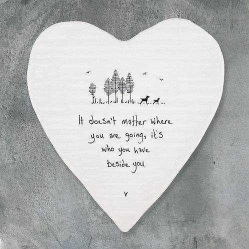 'Beside You' Porcelain Heart Coaster