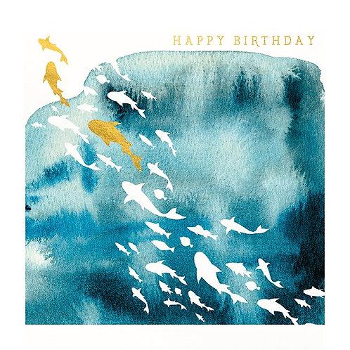 Natural Phenomenon 'Shoal of Fish' Birthday Card