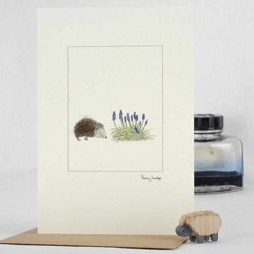 'Hedgehog & Flowers' Card by Penny Lindop