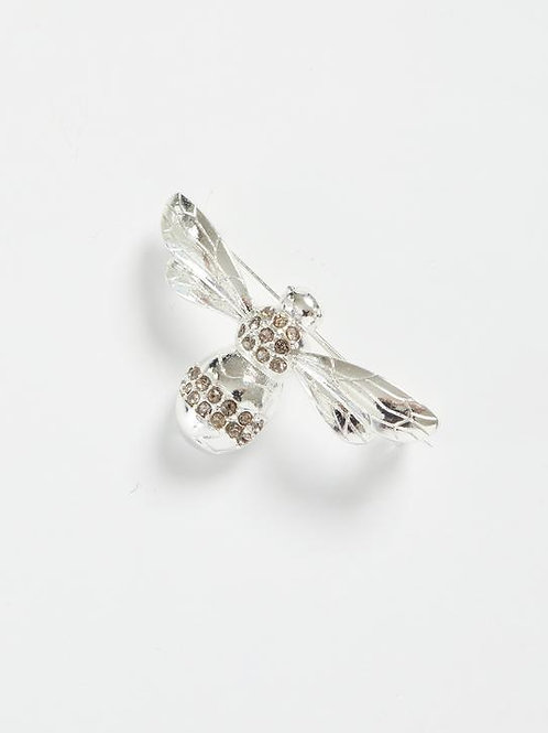 Silver Pave Bee Brooch by Fable