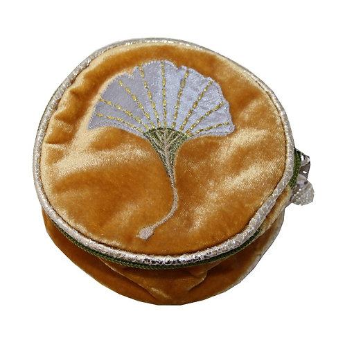 Velvet Gingko Round Jewellery Pouch - Ochre