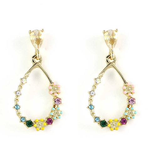 Gold Plated Flowers Raindrop Earrings