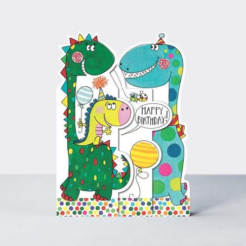 Three-Fold Dinosaurs Birthday Card