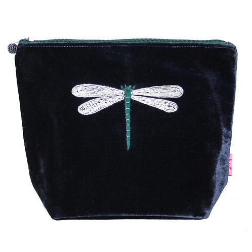 Velvet Dragonfly Large Cosmetic Purse - Navy