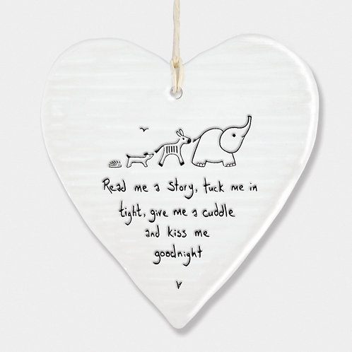 'Read Me A Story' Porcelain Hanging Heart